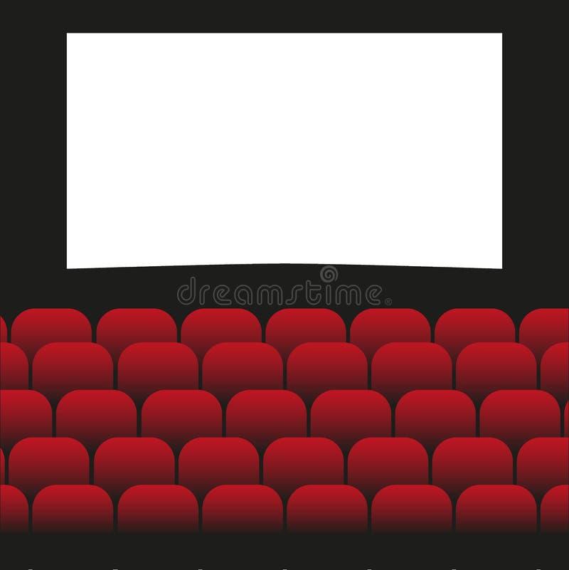 Design för affisch för filmbiopremiär med den vita skärmen Det kan vara nödvändigt för kapacitet av designarbete royaltyfri illustrationer