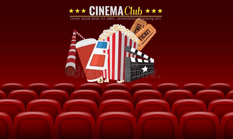 Design för affisch för filmbiopremiär Vektormallbaner för showen med platser, popcorn, biljetter Röd bakgrund stock illustrationer