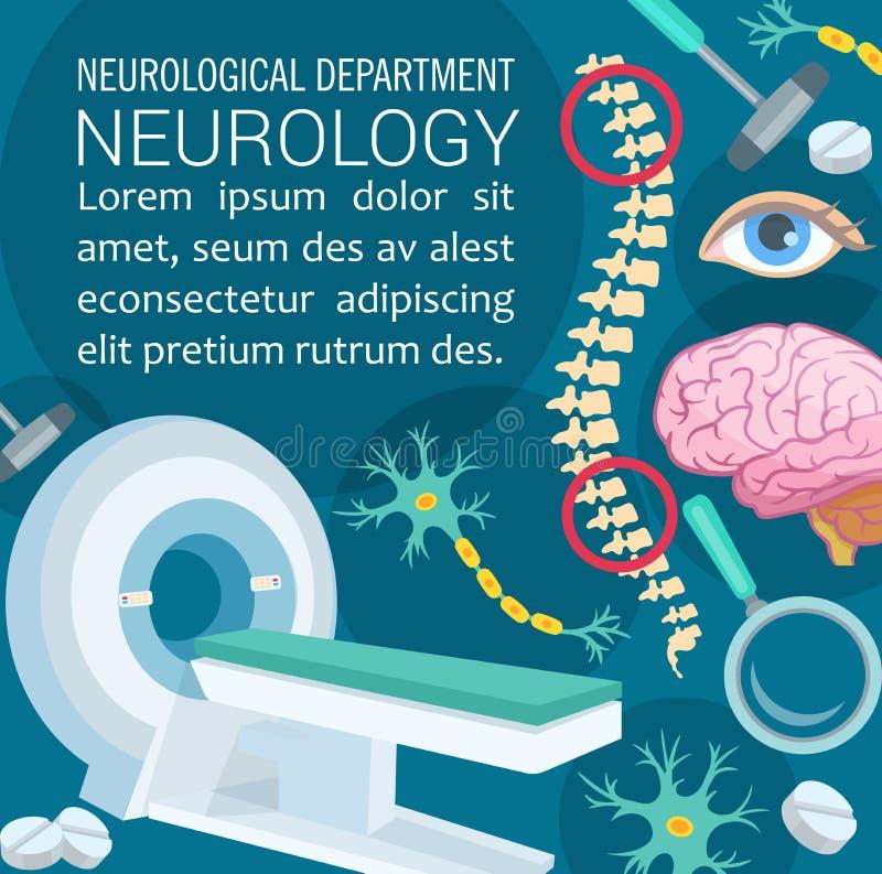 Design för affisch för klinik för neurologisjukdom diagnostisk stock illustrationer