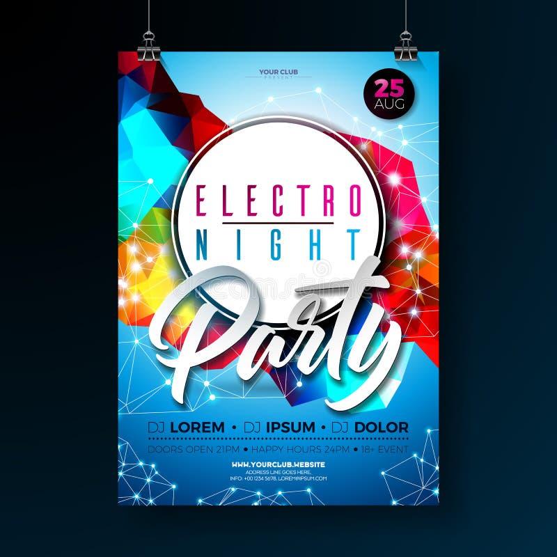 Design för affisch för nattdansparti med abstrakta moderna geometriska former på skinande bakgrund Electro stildiskoklubba stock illustrationer