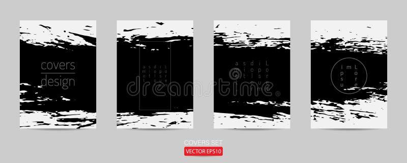 design för affischmallgrunge banermall för dragen målad skrapad illustrationtemplat för befordran hand vektor illustrationer
