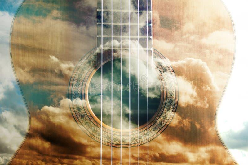 Design för akustisk gitarr stock illustrationer