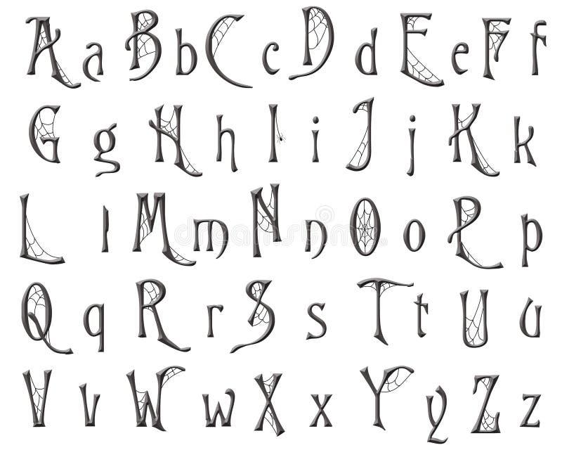 Design för allhelgonaafton för Scrapbooking alfabetspindelnät vektor illustrationer