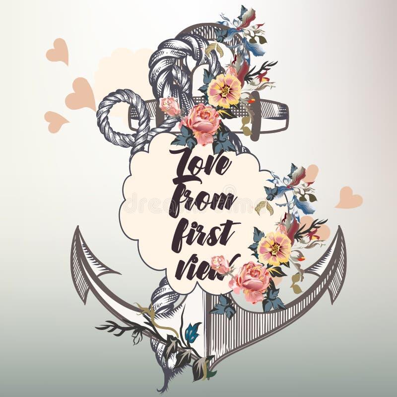 Design för ankarmodevektor med det nautiska ankaret och blommor royaltyfri illustrationer
