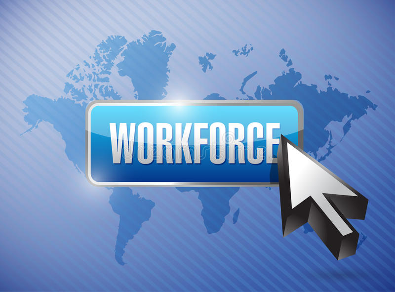 Design för arbetskraftknappillustration stock illustrationer