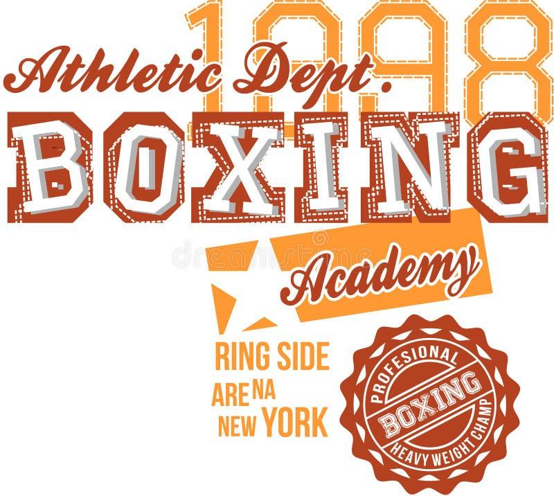 Design för Atheltic boxningtext vektor illustrationer