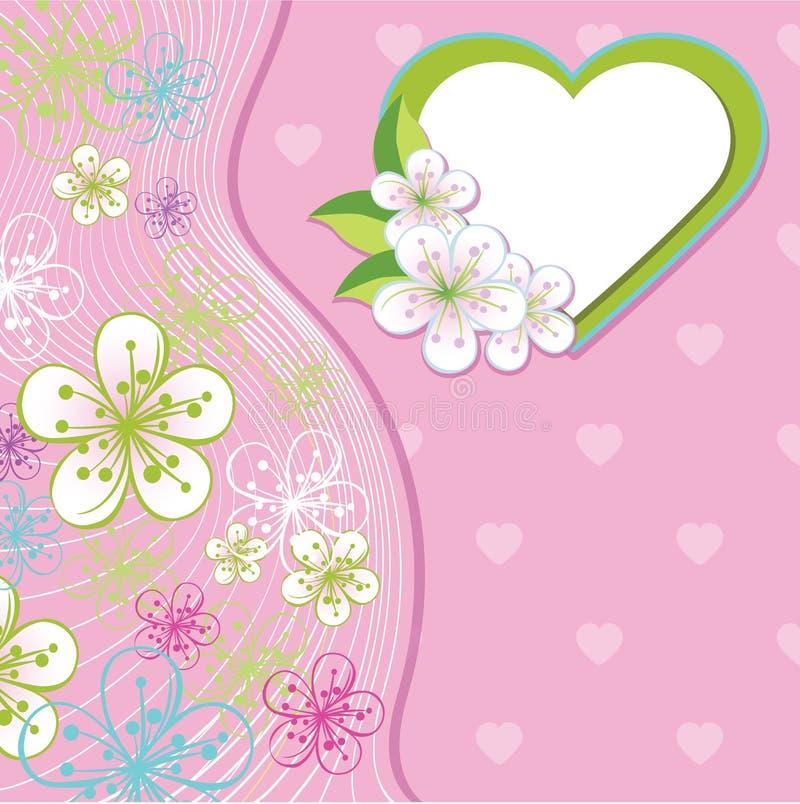 Design för att gifta sig mallen. Vårblommor, linje, H royaltyfri illustrationer