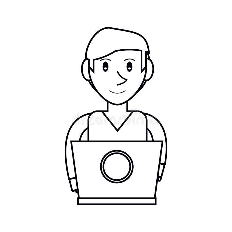 Design för bärbar dator för ung man för Pictogram funktionsduglig vektor illustrationer