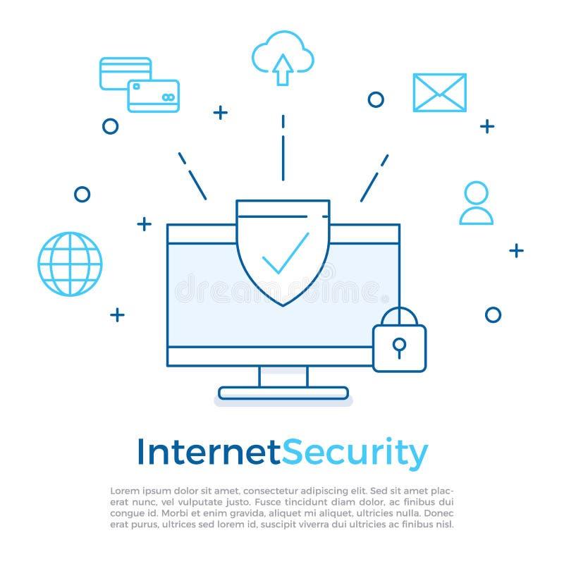 Design för bakgrund för översikt för internetsäkerhetslägenhet med begreppsmässiga symboler Vektorillustration för rengöringsdukb royaltyfri illustrationer
