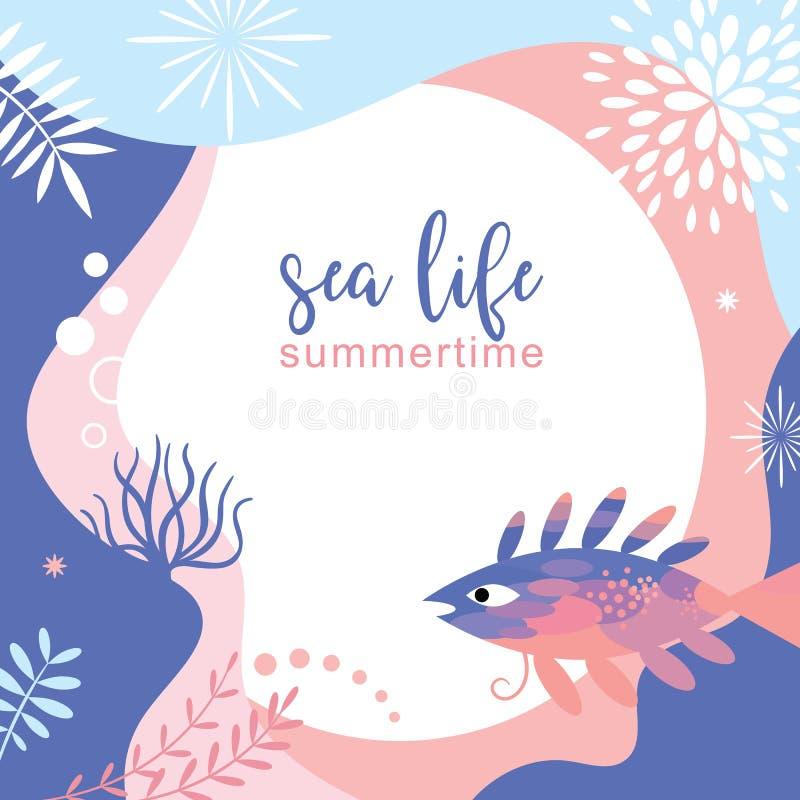 Design för bakgrund för abstrakt begrepp för havsliv royaltyfri illustrationer