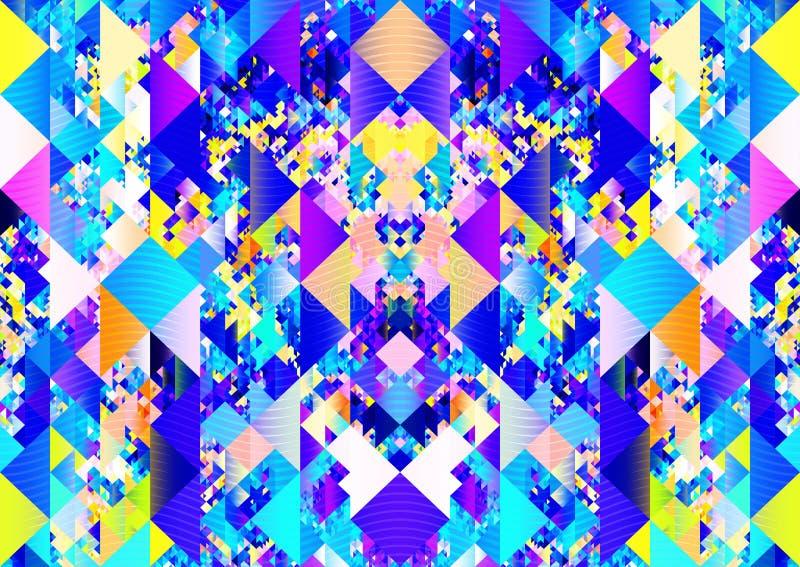 Design för bakgrund för brott för textur för Boho färgrik triangelmodell stock illustrationer