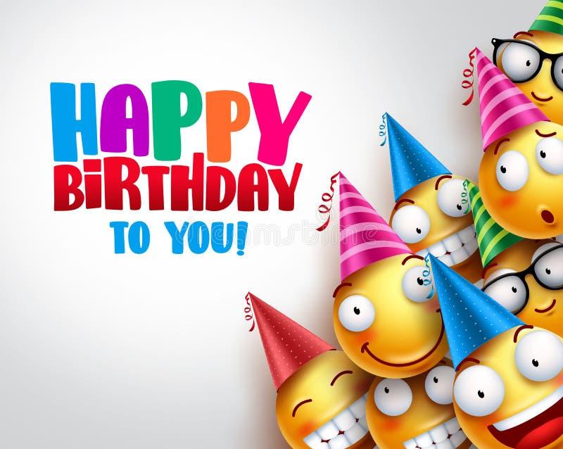 Design för bakgrund för födelsedagsmileysvektor med gula roliga och lyckliga emoticons royaltyfri illustrationer