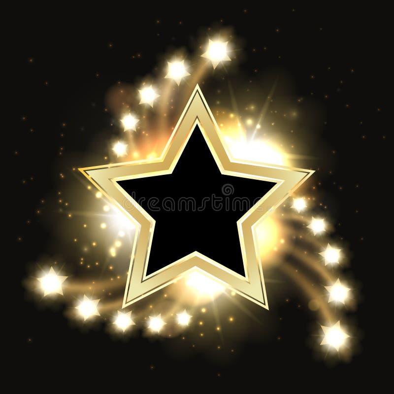 Design för bakgrund för stjärnavektor mousserande guld- med stjärnaramen vektor illustrationer