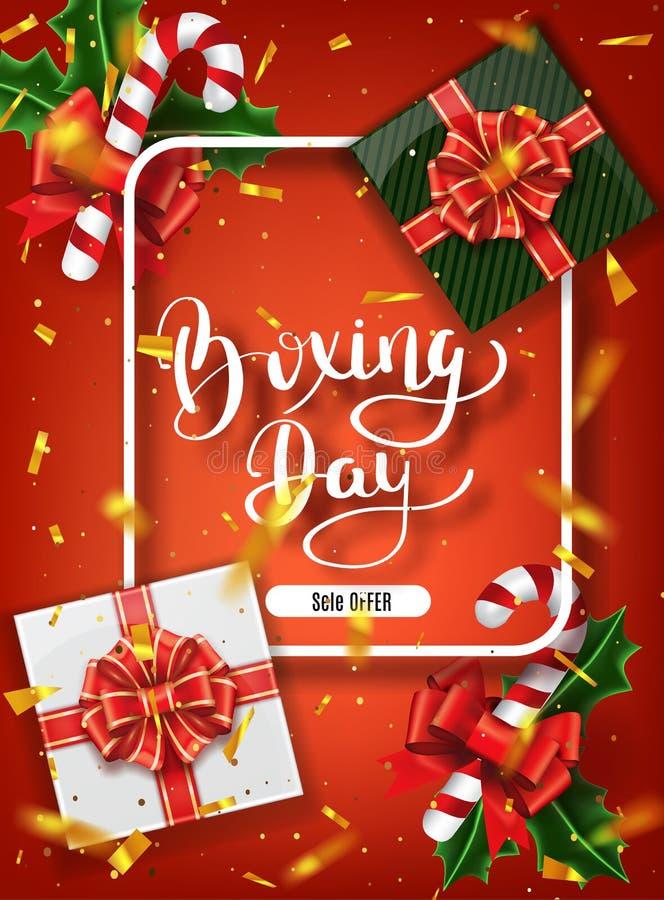 Design för baner för boxningdag Bokstäverkalligrafi Ferier för nytt år, traditioner Bästa sikt för gåvaaskar Festlig julvektorill royaltyfri bild
