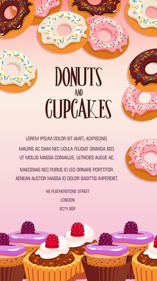 Design för baner för muffin- och munkbakelseefterrätt royaltyfri illustrationer