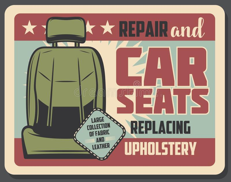 Design för baner för grunge för bilsätereparationsservice retro stock illustrationer