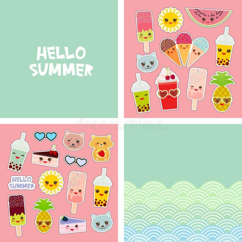 Design för baner för kort för Hello sommar ljus tropisk, klistermärkear för modelappemblem Kattananas, smoothiekopp, glass, bubbl stock illustrationer