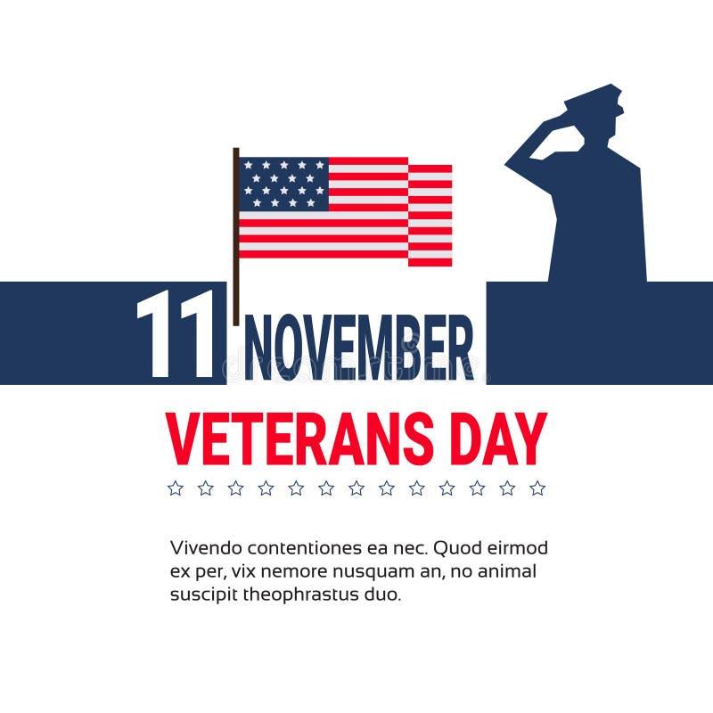 11 design för baner för November veterandag på vit bakgrund med oss krigsmaktsoldat And Copy Space royaltyfri illustrationer