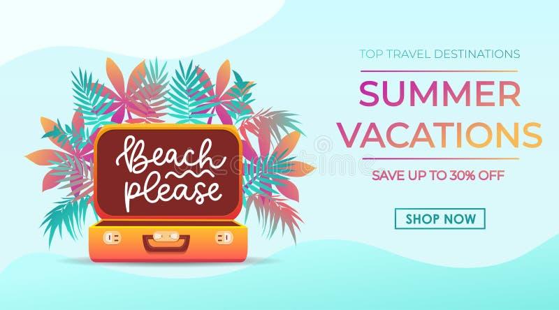 Design för baner för sommarsemestrar i moderiktig stil för loppbyrå med tropiska sidor, resväska och märkainskrift royaltyfri illustrationer