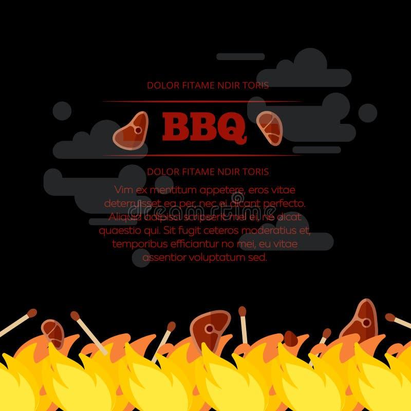 Design för BBQ-partiaffisch med brand och kött vektor illustrationer