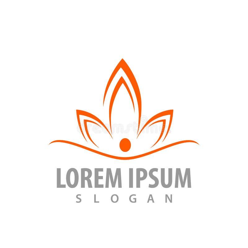 Design för begrepp för färg för Lotus blomma orange För mallbeståndsdel för symbol grafisk vektor vektor illustrationer