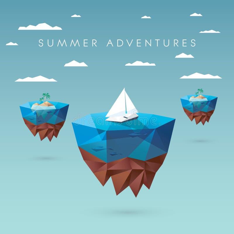 Design för begrepp för sommarferie Låg polygonal stil stock illustrationer