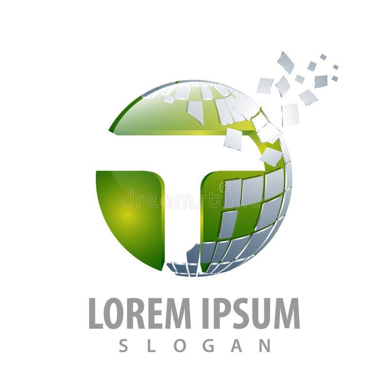 Design för begrepp för logo för bokstav för Digital cirkelPIXEL T För mallbeståndsdel för symbol grafisk vektor stock illustrationer