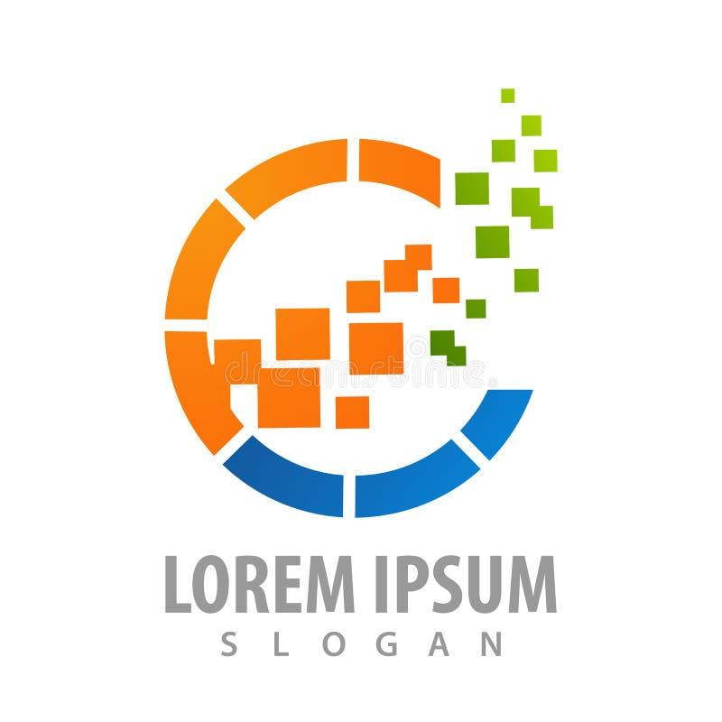 Design för begrepp för logo för Digital cirkelPIXEL För mallbeståndsdel för symbol grafisk vektor royaltyfri illustrationer