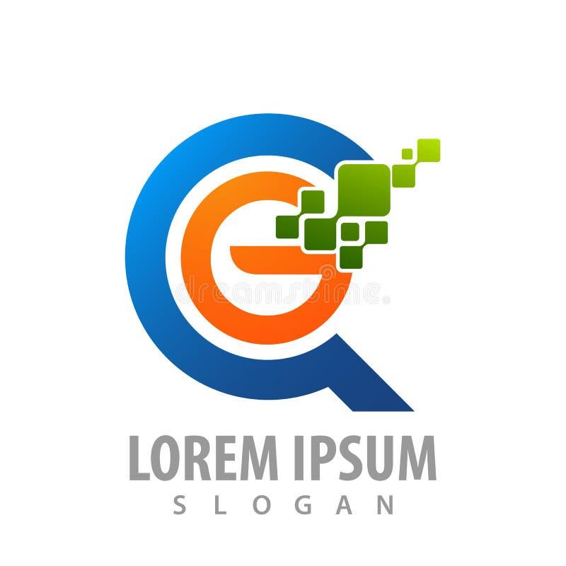 Design för begrepp för logo för G för initial bokstav för Digital cirkelPIXEL För mallbeståndsdel för symbol grafisk vektor vektor illustrationer