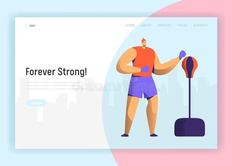 Design för Bixing utbildningstecken för att landa sidan Boxaremanövning i idrottshall Website för livsstil för maktkampgenomkörar vektor illustrationer
