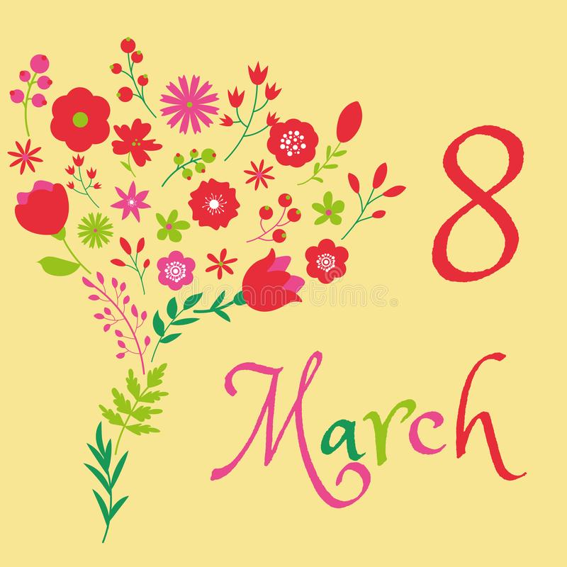 Design för blom- bukett för 8 internationell kvinnadag för marsch stock illustrationer