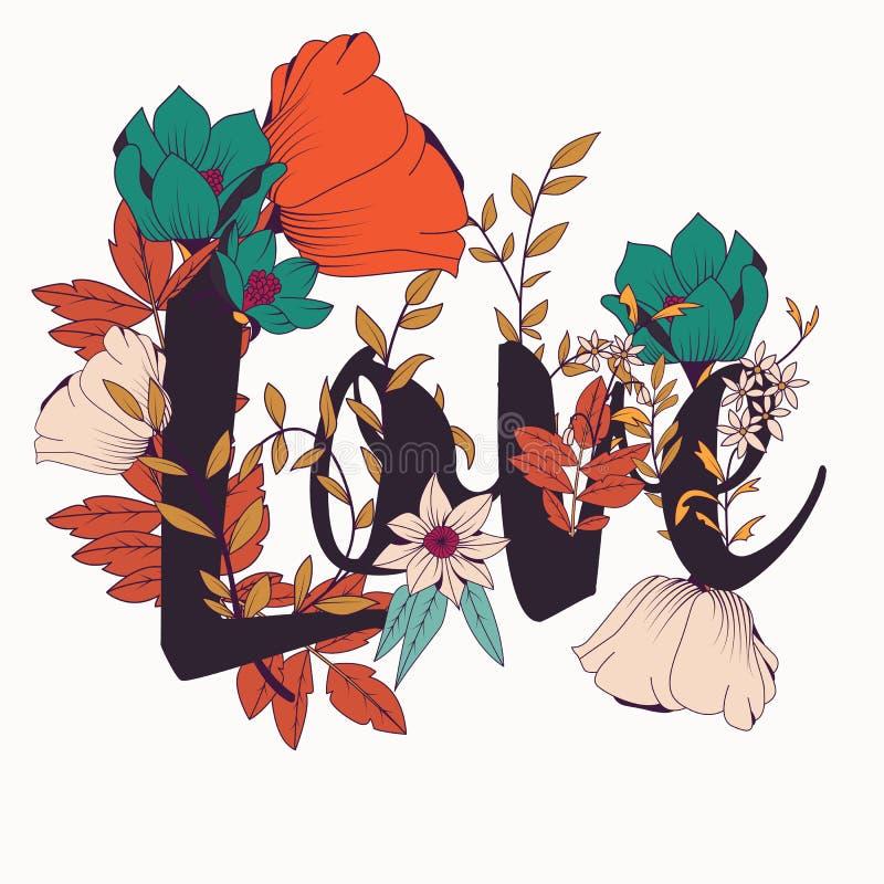 Design för blommatypografiaffisch, text och blom- kombinerat, ordförälskelse stock illustrationer
