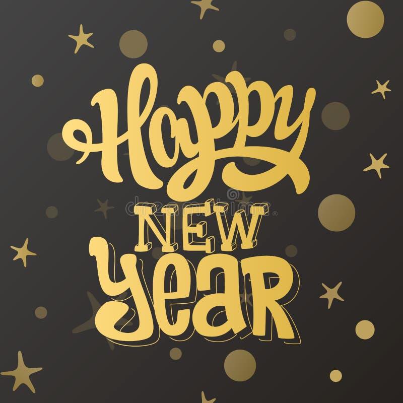 Design för bokstäver för lyckligt nytt år guld- också vektor för coreldrawillustration stock illustrationer