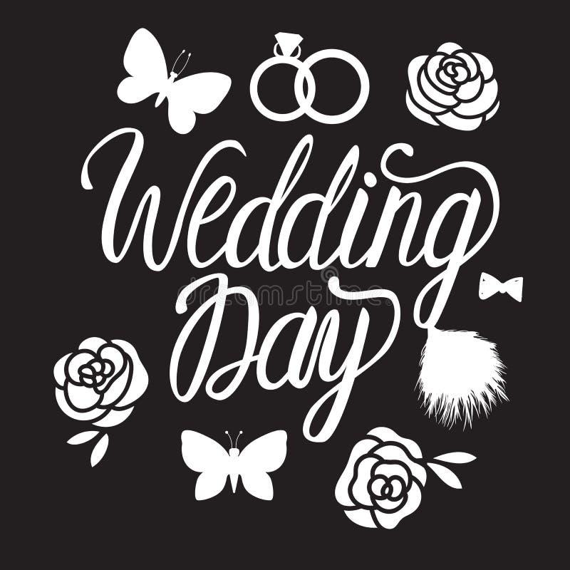 Design för bröllopdag För inskriftbokstäver för vektor som vit kalligrafi isoleras på svart bakgrund vektor illustrationer