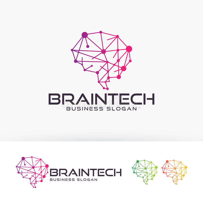 Design för Brain Tech vektorlogo stock illustrationer