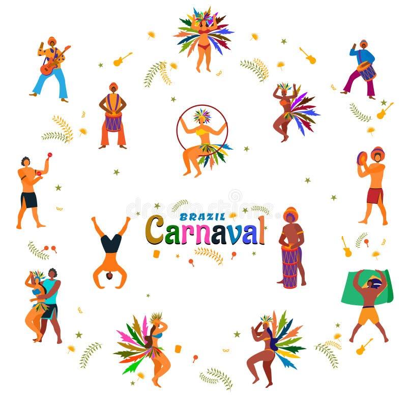 Design för för Brasilien karnevalaffisch eller baner med dansfolkteckenet och bunting garnering stock illustrationer