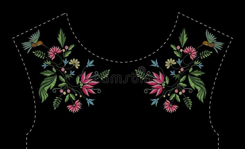 Design för broderi för satänghäftklammer med blommor och fåglar Folk fodrar den blom- moderiktiga modellen för klänningurringning royaltyfri illustrationer