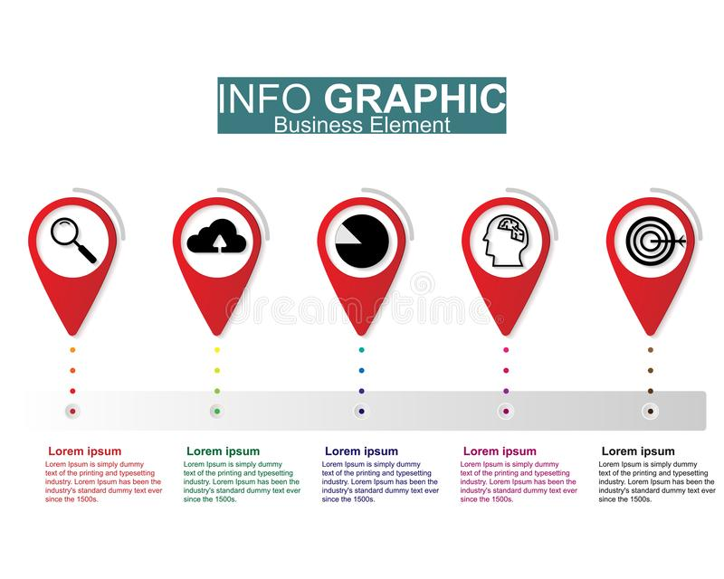 Design för Businees infographic illustrationvektor, mallar, beståndsdel, timelines Arbetsorientering eller process till marknadsf stock illustrationer