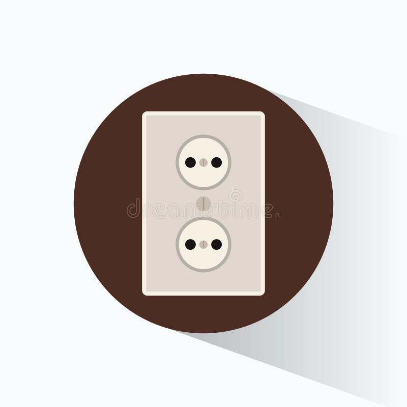 Design för cicle för brunt för elektricitet för väggpropp stock illustrationer