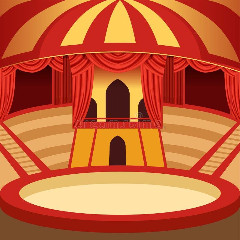 Design för cirkusarenatecknad film Klassisk etapp med guling royaltyfri illustrationer