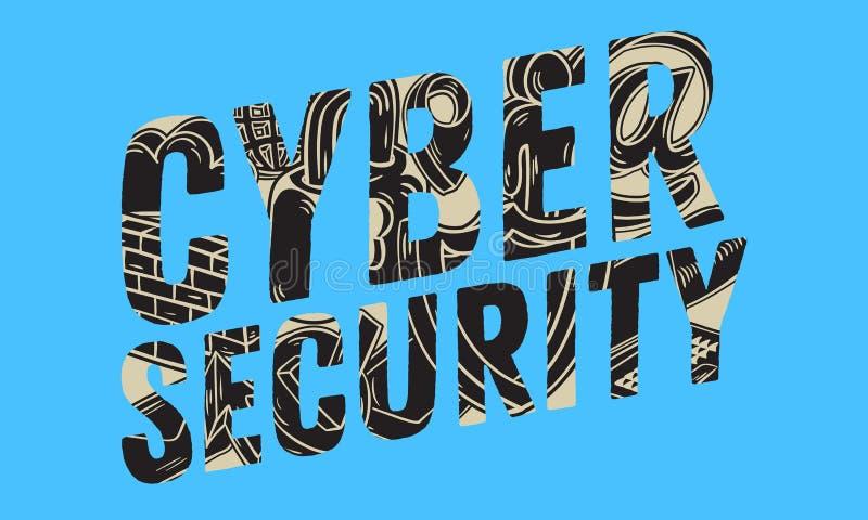 Design för Cybersäkerhetssäkerhet med släkta symbolsbeståndsdelobjekt Konstnärlig dragen knapphändig linje konst för tecknad film vektor illustrationer