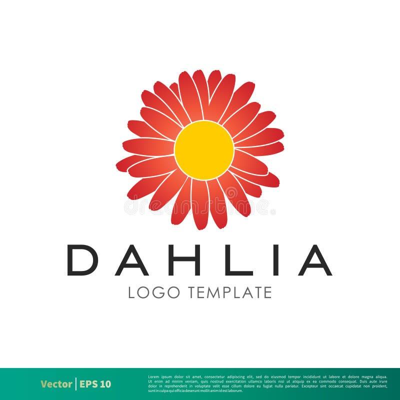 Design för Dahlia Flower Icon Vector Logo mallillustration Vektor EPS 10 royaltyfri illustrationer