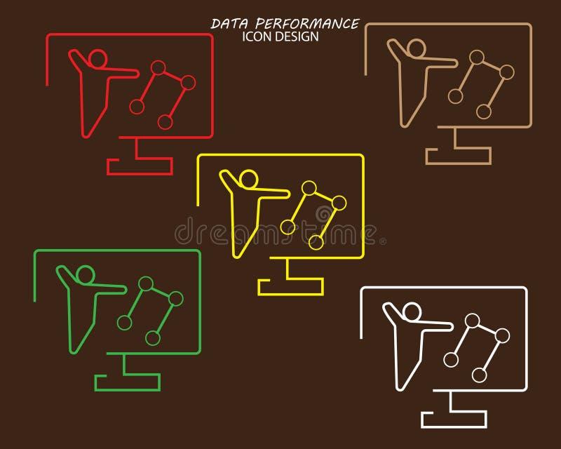 design för datakapacitetssymbol med för lineartstil för fem färger framlänges design på brun bakgrund stock illustrationer