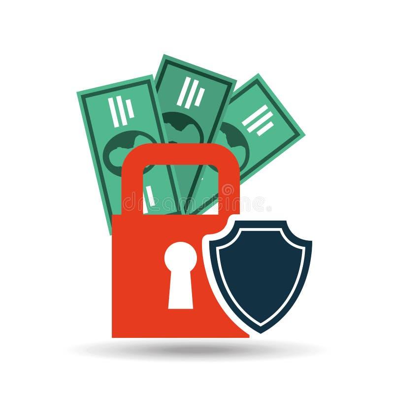 design för dollar för räkning för pengar för försäkringskyddssäkerhet royaltyfri illustrationer