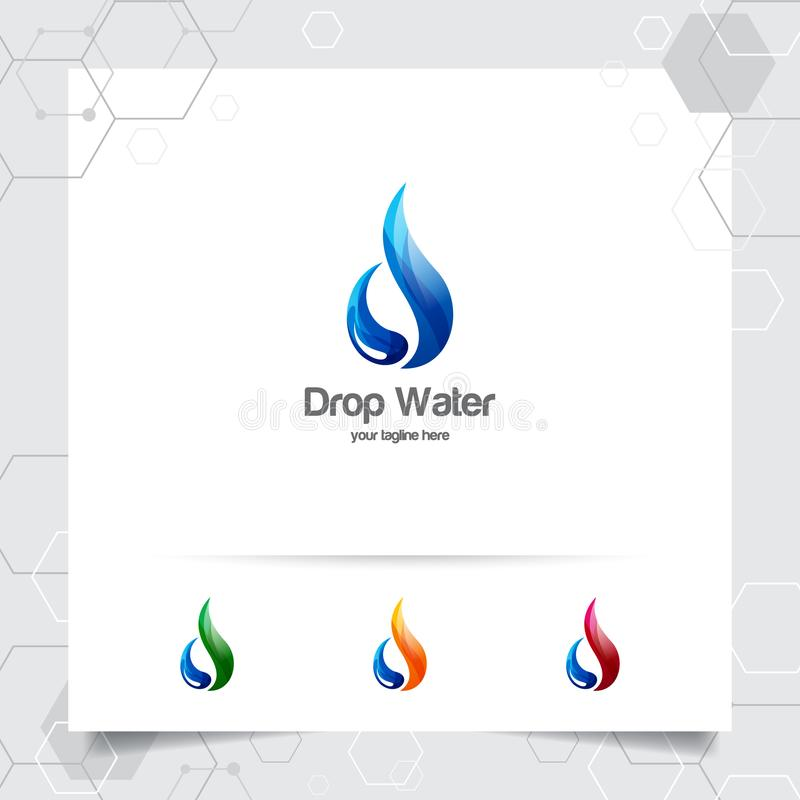 Design för droppvattenlogo med begrepp av liten droppesymbolen och färgstänkvattenvektorn som används för mineralvattenföretag oc stock illustrationer
