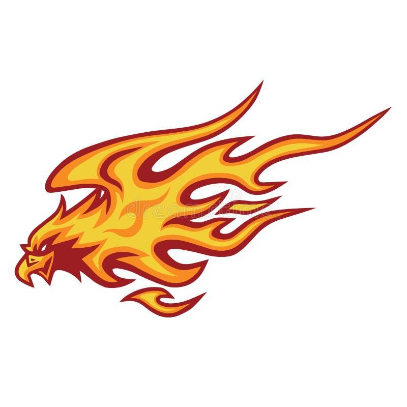 Design för Eagle Fire Head Flame Logo vektormall vektor illustrationer