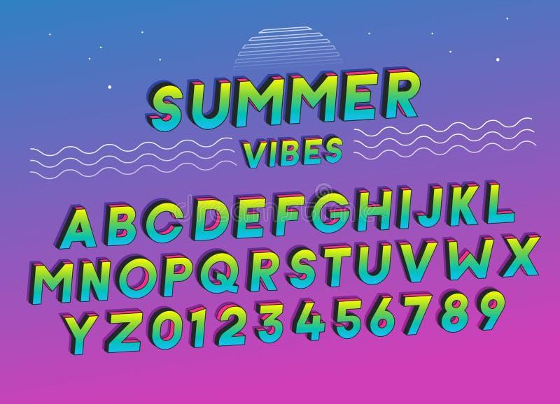 Design för effekt för sommarVibesstilsort med livliga färger ljus vektorvärld för konst Inkluderar fullt alfabet och nummer vektor illustrationer