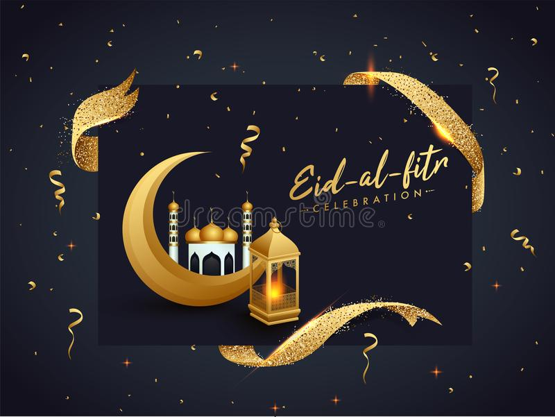 Design för Eid al-Fitr berömaffisch med den guld- växande månen, royaltyfri illustrationer