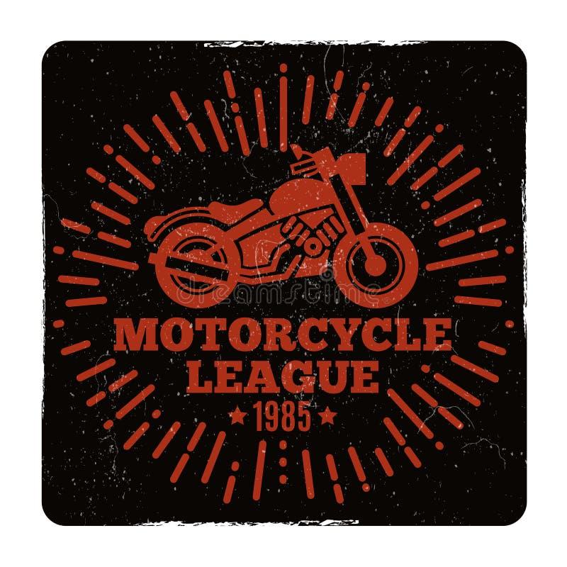 Design för emblem för liga för tappninggrungemotorcykel stock illustrationer