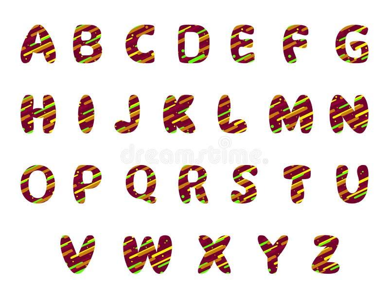 Design för engelskt alfabet med färgrika beståndsdelar för din design vektor illustrationer